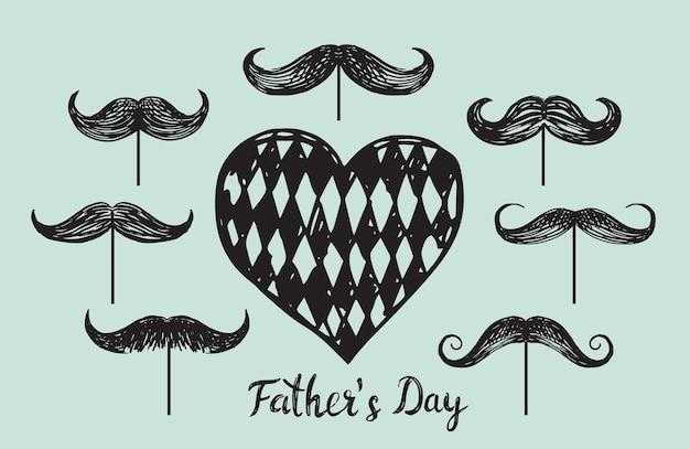 Happy fathers day handgetekende stijl