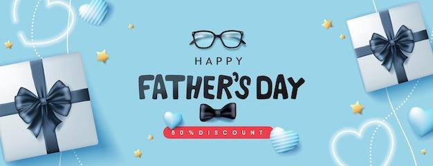 Happy fathers day-kaart met geschenkdoos voor papa op blauw
