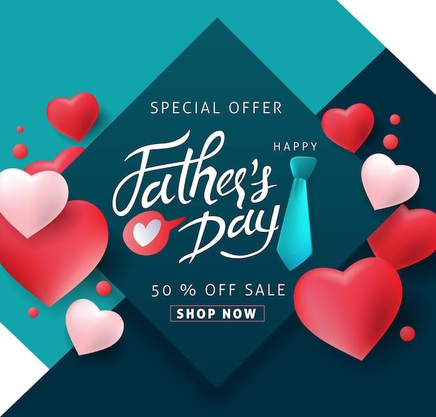 Happy fathers day kalligrafie verkoop banner.