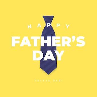Happy fathers day met blauwe stropdas op gele achtergrond