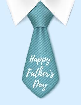 Happy fathers day, met blauwe stropdas. wenskaartsjabloon.