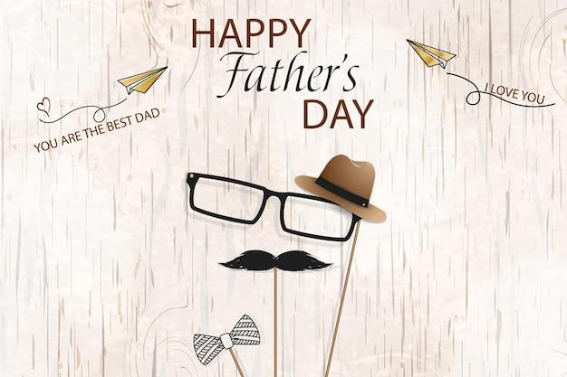 Happy fathers day sjabloon wenskaart vaders dag banner flyer uitnodiging felicitatie of poster ontwerp vaders dag concept design met zwarte snor bril vector