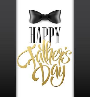 Happy fathers day wenskaart met belettering en strikje.