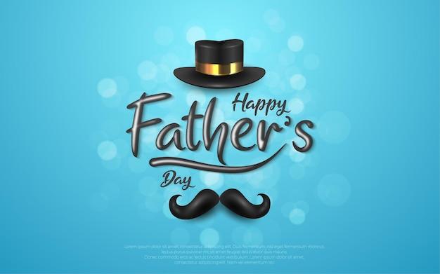 Happy fathers day zwarte hoed en snor in blauw.
