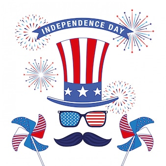 Happy fourth of july. independence day-kaart