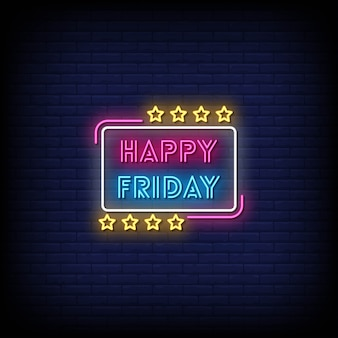 Happy friday neon signs style text