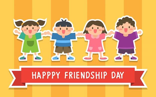 Happy friendship day illustratie met kinderen