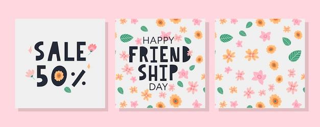 Happy friendship day wenskaart, bloemmotief en verkoop korting set