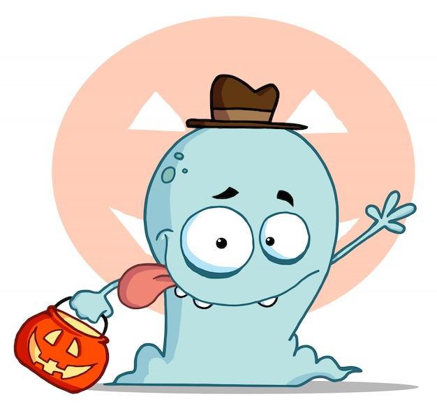 Happy ghost gaat trick or treat