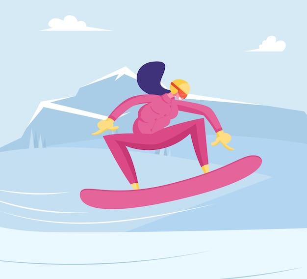 Happy girl riding snowboard door snow slopes