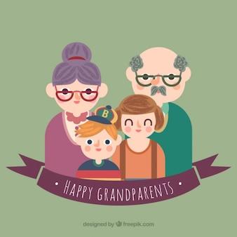 Happy grootouders illustratie