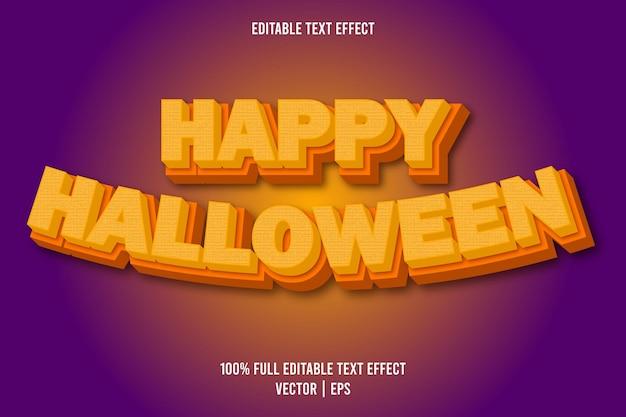 Happy halloween 3 dimensie bewerkbare teksteffect oranje kleur
