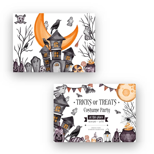 Happy halloween achtergrond, en partij uitnodiging flyer sjabloon met horror symbolen pompoen botten schedel halloween achtergrond