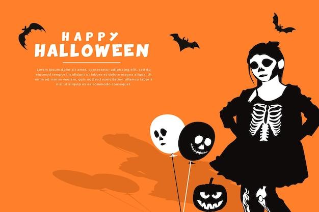 Happy halloween-achtergrond met schattig meisje dat halloween-kostuum-skeletjurk met vleermuispompoen draagt