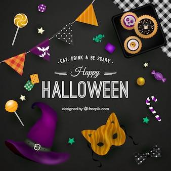 Happy halloween achtergrond op zwarte oppervlakte