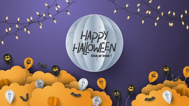 Happy halloween banner achtergrond met wolken en pompoenen in papier knippen stijl. volle maan aan de hemel, spinnenweb, schedel, spook en vliegende vleermuizen.