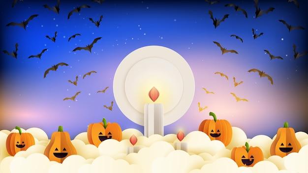 Happy halloween banner achtergrond sjabloon papier gesneden stijl. spookachtige nacht met halloween pompoenen, kaarsen en vliegende vleermuizen op blauwe hemel.