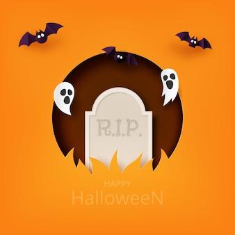 Happy halloween banner achtergrond sjabloon papier kunststijl. grafsteen met vliegende spook en vleermuizen.