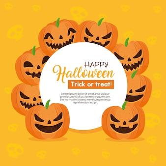 Happy halloween banner en frame circulaire met pompoenen