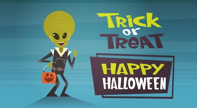 Happy halloween banner met cute cartoon alien trick or treat