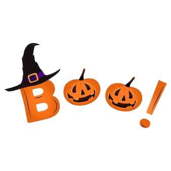 Happy halloween-banner met een pompoen. tekst boo, gestileerd als schattige pompoenen. halloween-ontwerp voor een poster, een uitnodiging voor een feest of een uitverkoop