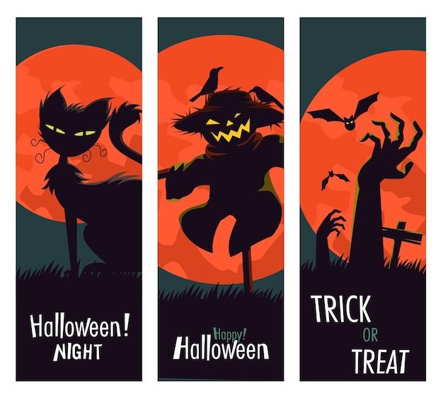 Happy halloween-banner met karakters