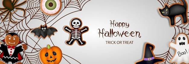Happy halloween-banner met peperkoekkoekjes en spinnenwebben