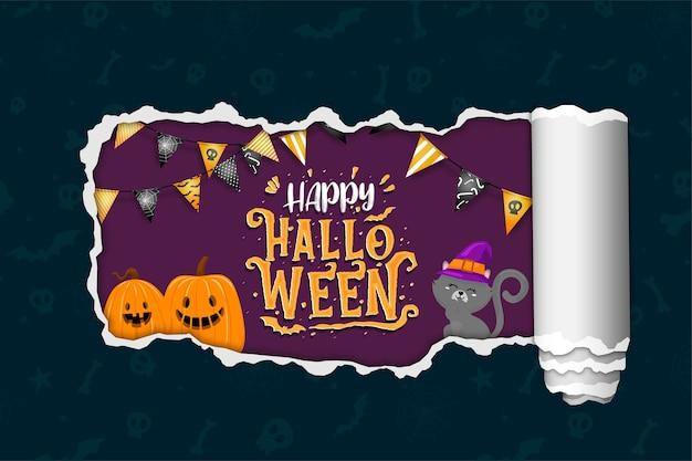 Happy halloween banner met zwarte kat en pompoenen.