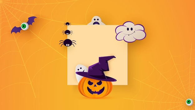 Happy halloween banner of feestuitnodiging achtergrond met vleermuizen, spinnen en grappige pompoenen in papier knippen stijl. vierkant frame. vector illustratie. plaats voor tekst