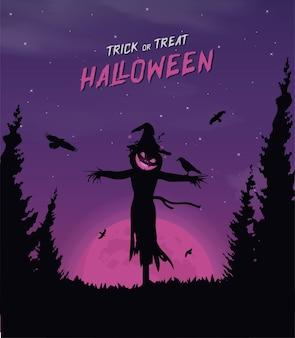 Happy halloween-banner of feestuitnodigingsachtergrond met violette mistwolken en pompoenen