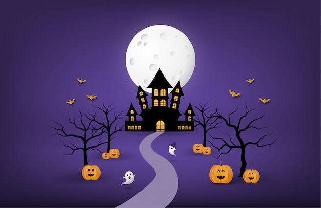 Happy halloween banner of poster achtergrond met grote maan en silhouet spookkasteel, pompoen, kale boom en bit in papierstijl knippen.