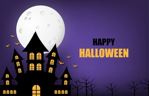 Happy halloween banner of poster achtergrond met grote maan en silhouet spookkasteel.