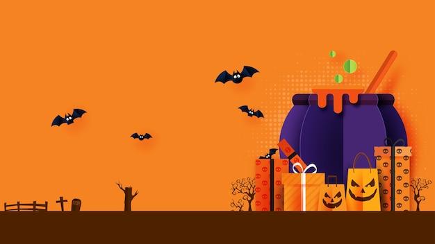 Happy halloween banner of verkoop achtergrond papier knippen stijl. witcher ketel met geschenkdoos en boodschappentas.