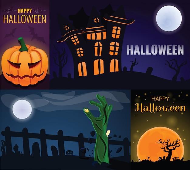 Happy halloween-banner set, cartoon stijl