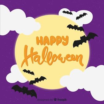Happy halloween belettering achtergrond met vleermuizen