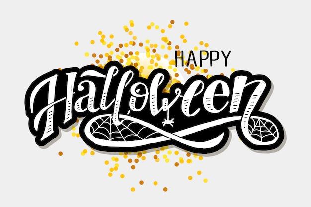 Happy halloween belettering kalligrafie penseel tekst