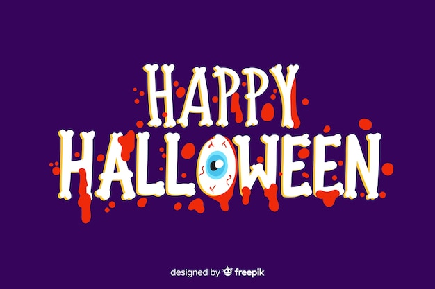 Happy halloween belettering met griezelig lettertype