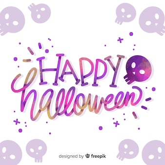 Happy halloween belettering met schedels