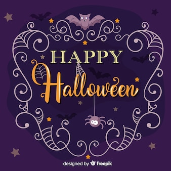 Happy halloween belettering met spinnen