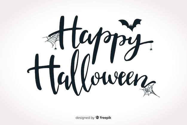 Happy halloween belettering met vleermuis