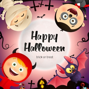 Happy halloween belettering, vleermuis, kinderen in monsters kostuums