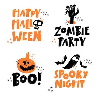 Happy halloween belettering zinnen set. traditionele symbolen.