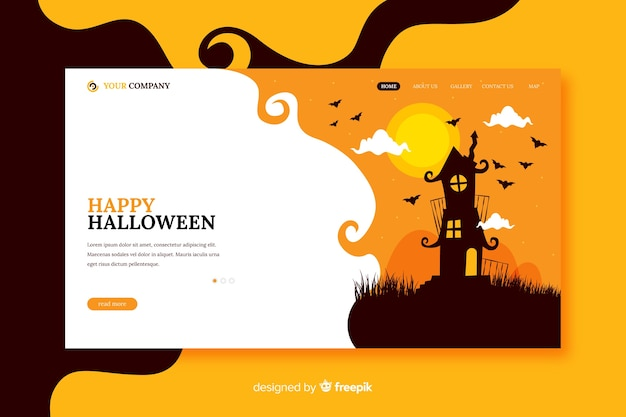 Happy halloween-bestemmingspagina in plat ontwerp