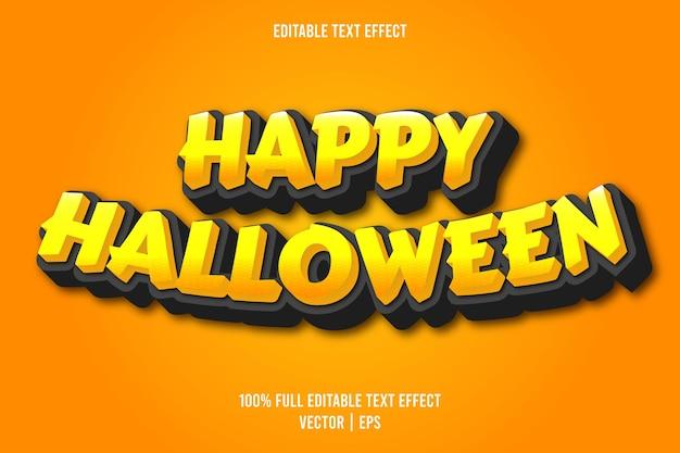 Happy halloween bewerkbare teksteffect komische stijl oranje kleur