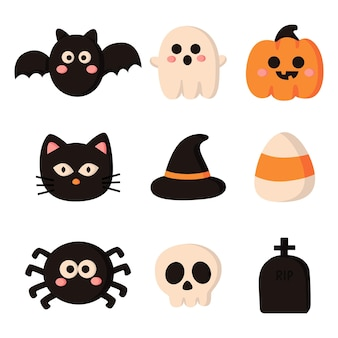 Happy halloween cartoon eenvoudige elementen set geïsoleerd op een witte achtergrond Premium Vector