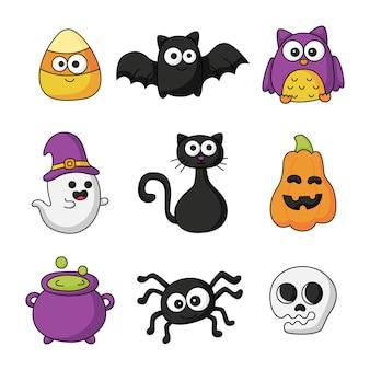 Happy halloween cartoon eenvoudige elementen set geïsoleerd op een witte achtergrond