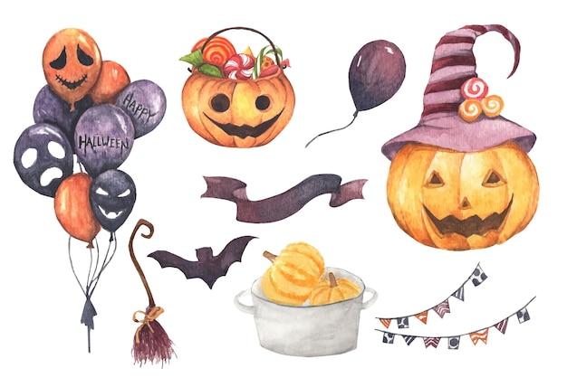 Happy halloween-collectie. hand getekend aquarel op wit, elementen voor creatief ontwerp, afdrukbare inrichting.