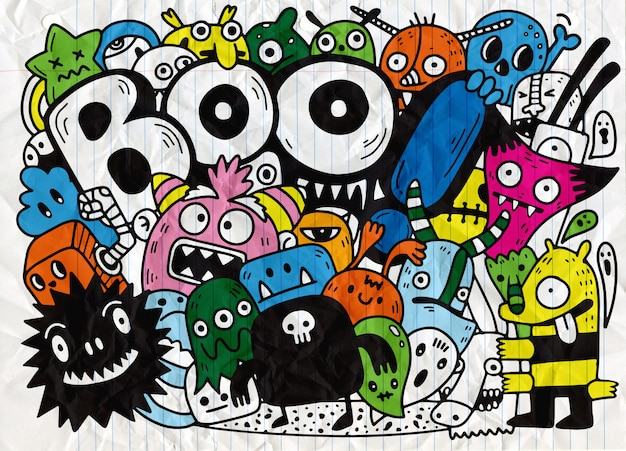 Happy halloween contour schets doodle. achtergrond papier, vectorillustratie
