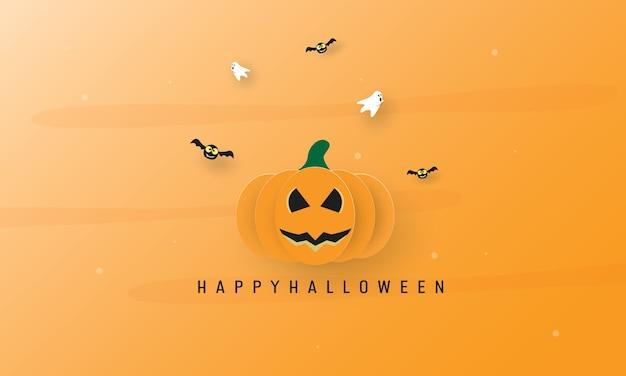 Happy halloween-dag, cartoon geest, vliegende vleermuizen en jack-o-lantern