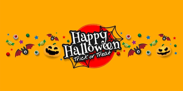 Happy halloween day banner ontwerp.